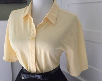 Vintage Yellow & White Gingham Plaid 1950s 1960s Rockabilly Button Down Short Sleeve Blouse