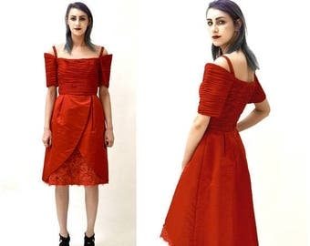 SALE 80s Vintage Red Prom Party Dress Size Small // 80s 90s Red Cocktail Party Dress Size Small Silk Lace Rhinestones of the shoulder
