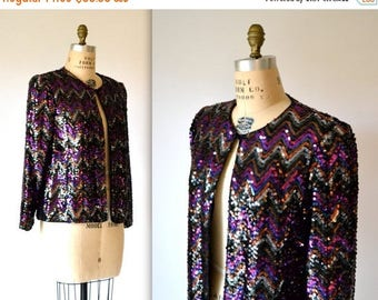 SALE Vintage Sequin Jacket Size Medium in PInk Gold and Silver