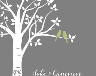"""Personalized Wedding Gift, Printable Wedding Gift, First Anniversary Paper Gift, Love Birds Wedding, Gifts for Bride, 8""""x10"""" (Olive/Gray)"""