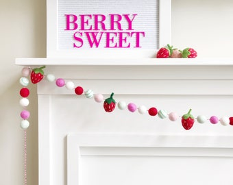 Strawberry Themed Felt Ball Garland, Bunting, Banner - White, Pink, Red, Mint, and Turquoise