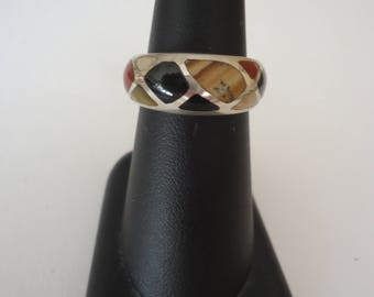 Vintage Unisex 925 Sterling Silver Band Ring w/ Inlaid Gemstones in Earth Tones, Size 7, 8 Grams