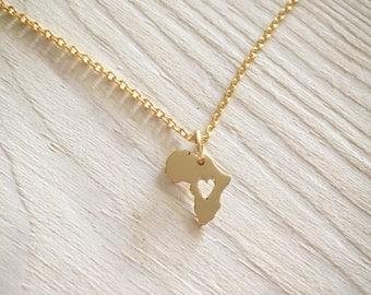 Africa pendant map - 24kt golden plated nugold africa necklace - Africa map pendant Brass Africa heart Afrikanischer Schmuck