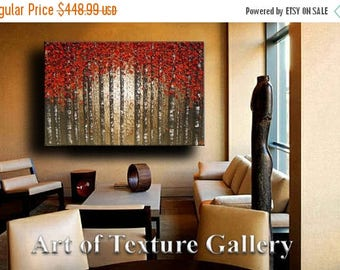 SALE 60 x 40 HUGE Custom Oil Impasto Painting Original Texture Modern Tree Birch Red Beige Brown Khaki Knife Sculpture by Je Hlobik