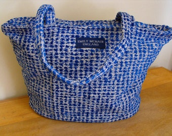 Blue and White Zip Top Tote Market Shopper Bag One of a Kind Ready to Ship