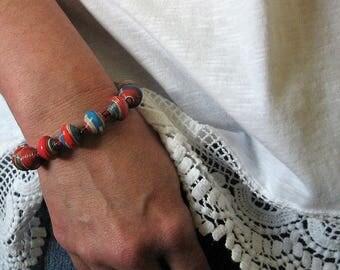 Paper bead bracelet - paper bead jewelry - beaded bracelet- ladies bracelet - paper jewelry