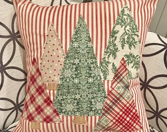 Christmas Tree Pillow Cover, Trees Pillow Cover, Farmhouse Christmas, Farmhouse Christmas Decor, Red Ticking Christmas
