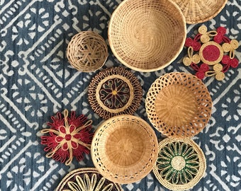 RESERVED // vintage set of 10 straw rattan wall baskets
