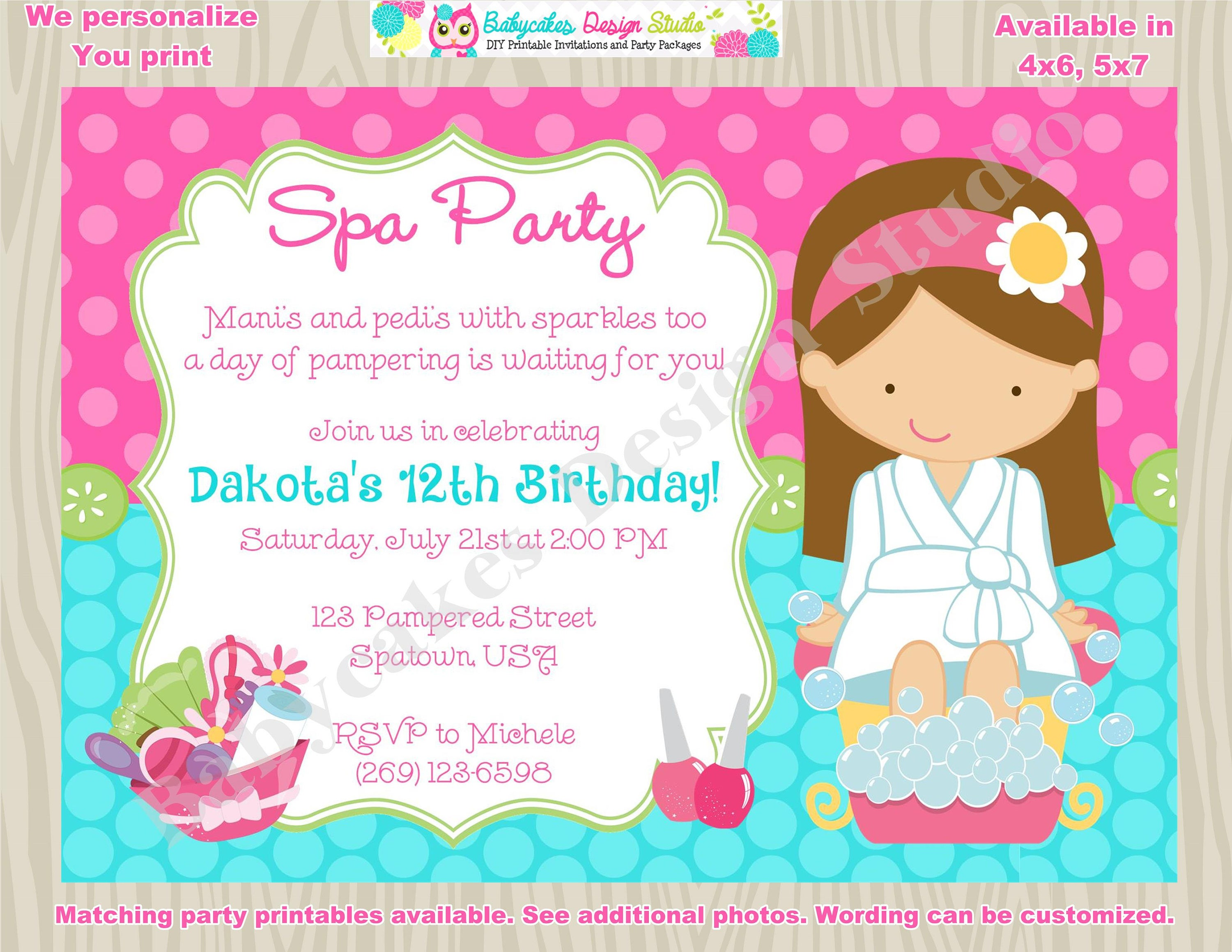 Spa party invitation spa birthday invitation invite spa day