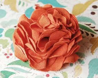 Floral Hair Accessories - Orange Carnation - Fabric Flowers - Hair Clip and Lapel Pin