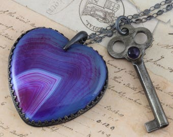 """Vintage Skeleton Key Necklace Heart Necklace Purple Agate Oxidized Sterling Silver 24"""" Chain One of a Kind Heart Necklace Violet Stone Black"""