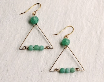 Jade Green Earrings ... Triangle Vintage 1980s 1990s Nineties Brass Emerald Beads