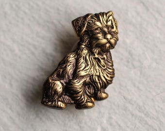 Scottish Terrier Brooch ... Vintage Dog Highland Aberdeenshire Brass
