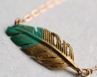Feather Necklace ... Turquoise Gold Boho Festival Beach Jewelry Pendant