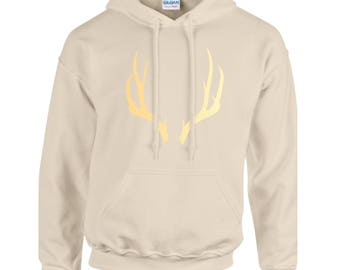 Antler Hoodie | Custom Hoodie | Hooded Sweatshirt | Custom Sweatshirt | Personalized Hoodie |Gildan Heavy Blend | Gift | Sweats | Antlers