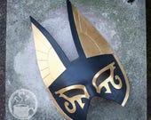 Large Egyptian Anubis Half Mask in Gold and Black -  Handmade  Warrior Costume Fantasy Renaissance Festival Masquerade