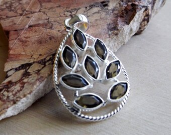 Smoky Quartz Leaf Pendant - Sterling Silver, crystal healing, crystal jewelry, crystal accessory