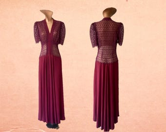 1940s Burgundy Lace and Rayon Dress
