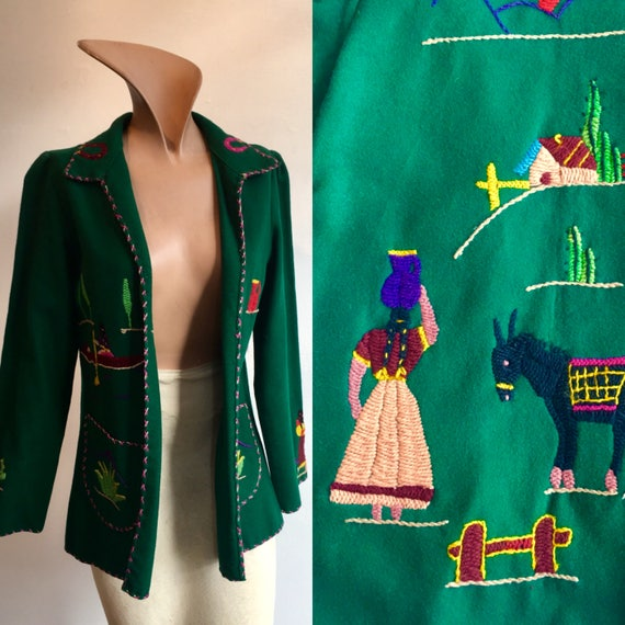 1950s Mexican Embroidered Jacket, size  Small/XS
