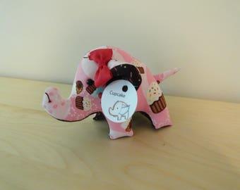 Tiny Stuffed Elephant- Cupcake