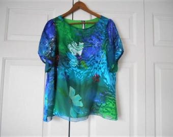 Vintage Silk burn out Silk lined colorful Top