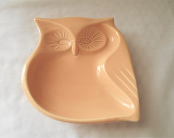 Vintage retro 70's hard plastic Owl dish marked Japan