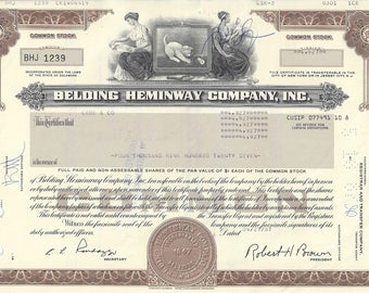 Vintage Belding Heminway Original Stock Certificate (brown), 1980's
