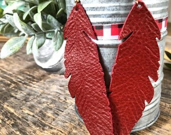 Leather Feather earrings - Brick