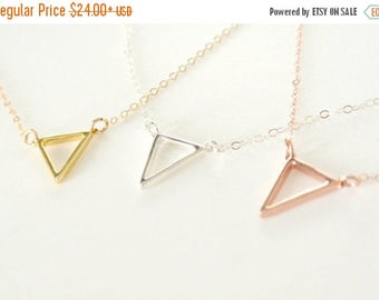 SALE - Tiny Triangle Necklace, Silver, Floating Triangle Necklace, Gold, Rose Gold Fill Triangle Outline Necklace, Layered Jewelry, Everyday