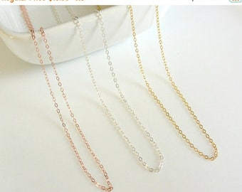 SALE - Plain Chain Necklace, Simple Layering Necklace, Sterling Silver 14k Gold Fill Rose Gold Fill Chain Necklace, Delicate Thin Chain Neck