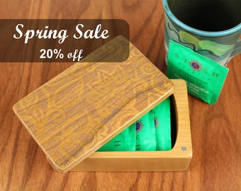 REDUCED PRICE - Discontinued Stock - Lace Pattern Box, Wooden Storage Box 5-3/8 x 3-3/8, Solid Cherry Laser Engraved, Masterpiece Laser