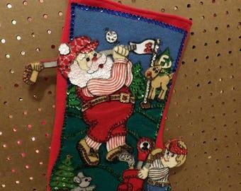 Handmade golfing Santa & Elf caddie 17 inch felt and sequin Christmas Stcoking - fsk39