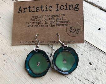 Colorful Poppy green and teal kiln fired enamel earrings