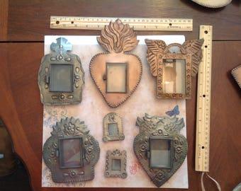 Set of SIX!! Tin and Glass Nichos.