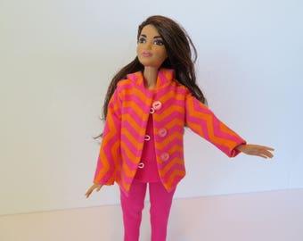 CURVY BARBIE 3 Pc. Pink and Orange Hoodie Outfit