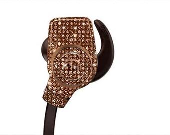 Custom Bronze Monster Earphones with Swarovski,Bedazzled Earphones with Crystals, Custom earphones, Monster earphones