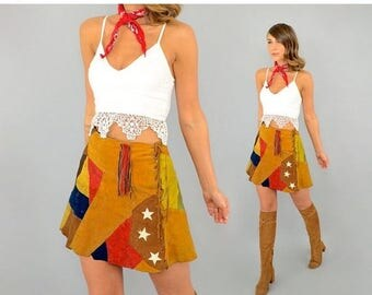 SUMMER SALE 70's Patchwork Leather Mini Skirt