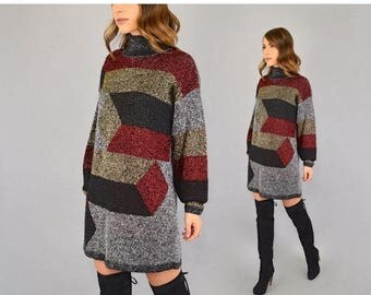 SUMMER SALE 80's Metallic Lurex Sweater Dress