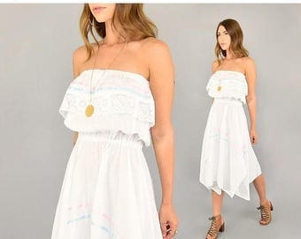 SUMMER SALE 70's Off-The-Shoulder Mexican Dress