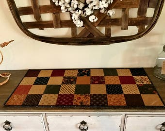 Quilted Table Runner / Country Decor / Primitive Decor / Farmhouse Decor - MW