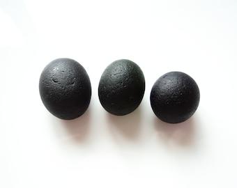 Collectors Seaglass - Set of Three Secret Black Pebls - Mar1803 - from Seaham beach,  UK