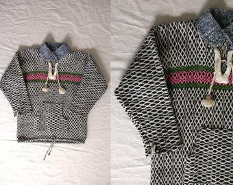 Vintage 1960's Woven Wool Sweater, Pullover Sweater, Knit, Unisex Adults