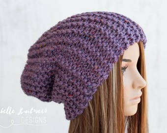 Slouchy Purple Knit Hat, Chunky Tweed Garter Stitch