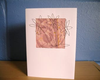Hand embroidered Card, Greetings card Blank Card, Note Card