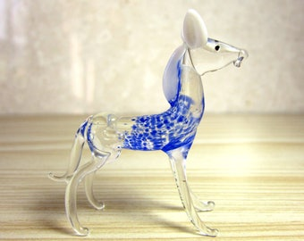 Vintage 50's - 60's MURANO Hand Blown Glass Miniature blue horse Figurine
