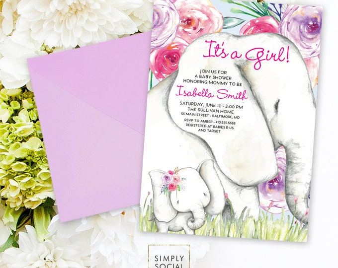 Elephant Baby Shower Invitation - Boho Elephant It's A Girl Floral Baby Shower Invitation Watercolor Printable Little Peanut