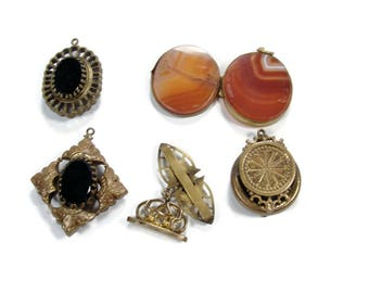 Victorian Jewelry Lot, Craft Lot, Destash Jewelry, Watch Fobs. Agate Locket, Gold Filled, Antique Jewelry, Repurpose