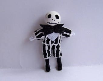Jack Skellington 2.5 inch tiny pocket bendy doll, dollhouse doll, miniature, handmade, hand-painted, Halloween, Day of the Dead, skeleton