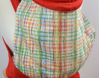 MEI TAI Baby Carrier / Sling  / Reversible / Chalk Squares with Red in straight cut model / Handmade / Made in UK