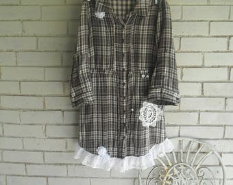brown plaid shirt ladies blouse upcycled lace blouse bohemian shirt ladies shirt spring shirt fall shirt shabby chic clothing prairie shirt